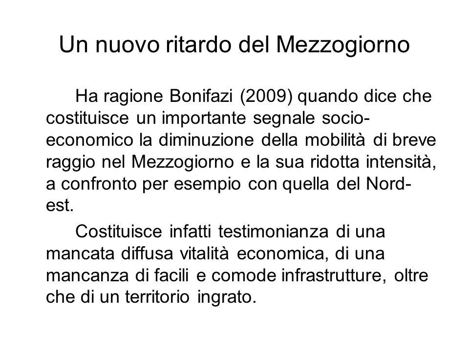 Un nuovo ritardo del Mezzogiorno Ha ragione Bonifazi (2009) quando dice che costituisce un importante segnale socio- economico la diminuzione della mobilità di breve raggio nel Mezzogiorno e la sua ridotta intensità, a confronto per esempio con quella del Nord- est.