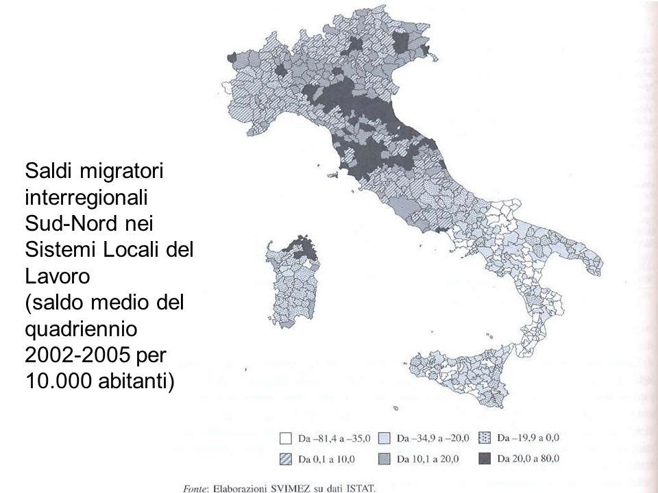 Saldi migratori interregionali Sud-Nord nei Sistemi Locali del Lavoro (saldo medio del quadriennio 2002-2005 per 10.000 abitanti)