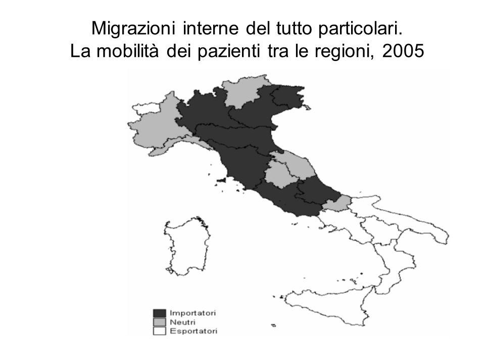 Migrazioni interne del tutto particolari. La mobilità dei pazienti tra le regioni, 2005