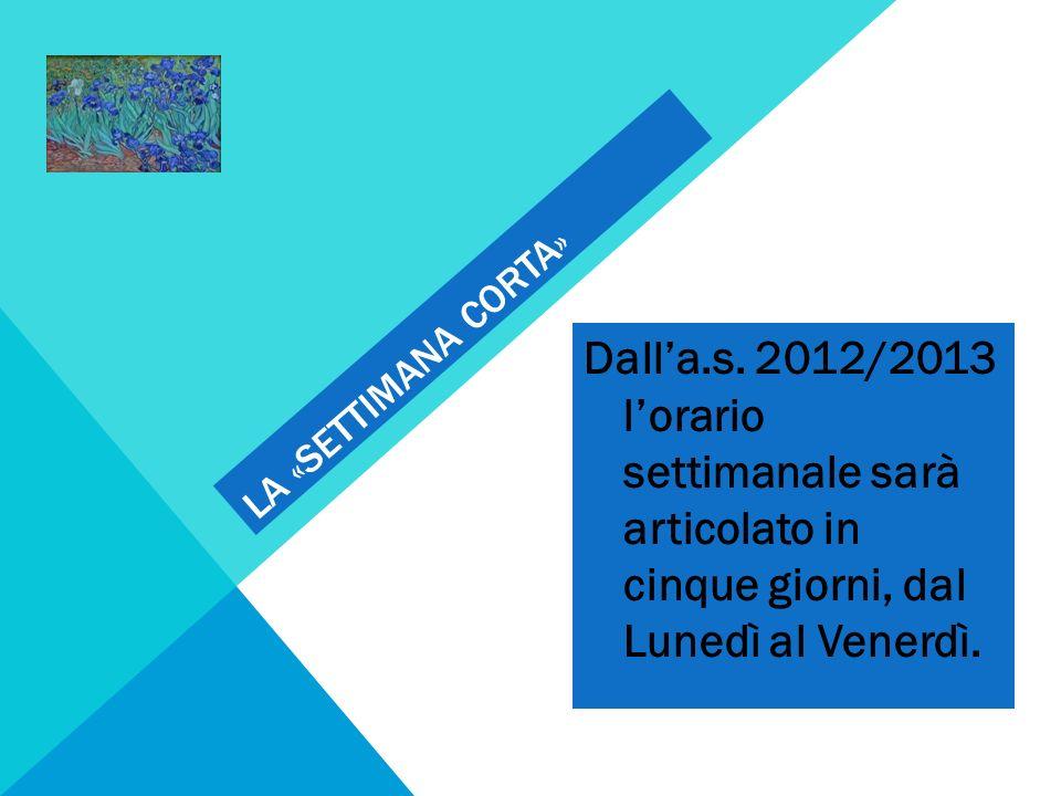 LA «SETTIMANA CORTA» Dalla.s. 2012/2013 lorario settimanale sarà articolato in cinque giorni, dal Lunedì al Venerdì.