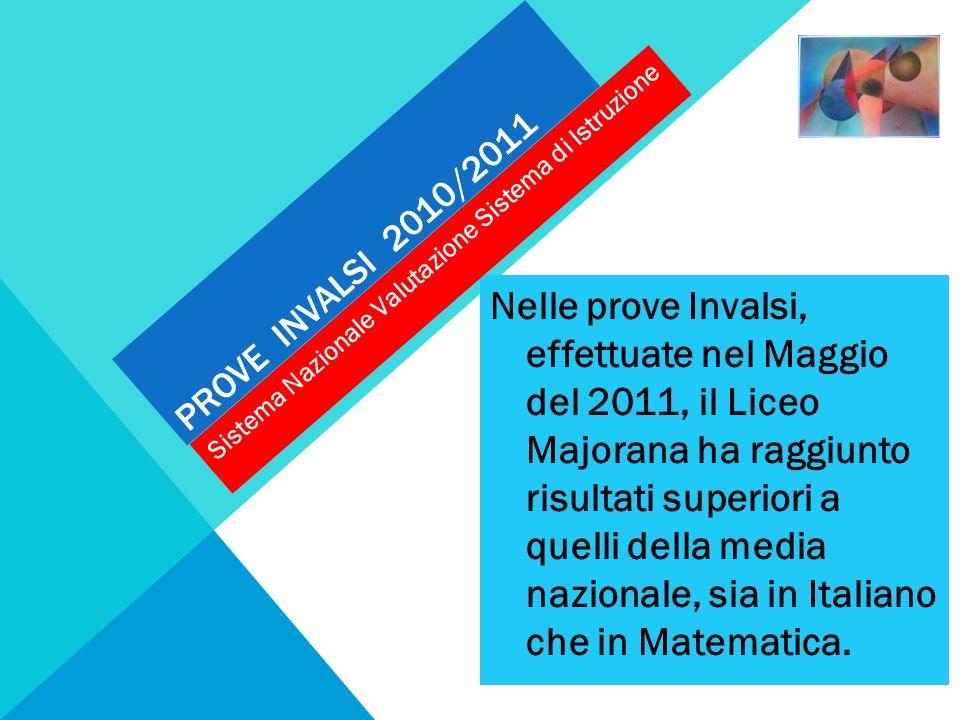 PROVE INVALSI 2010/2011 Nelle prove Invalsi, effettuate nel Maggio del 2011, il Liceo Majorana ha raggiunto risultati superiori a quelli della media n