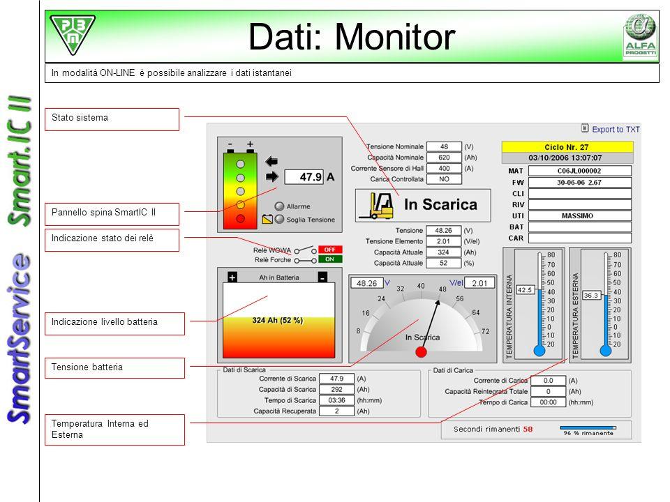 In modalità ON-LINE è possibile analizzare i dati istantanei Stato sistema Pannello spina SmartIC II Indicazione stato dei relè Indicazione livello ba