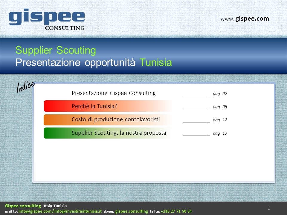 Supplier Scouting Presentazione opportunità Tunisia Indice Gispee consulting Italy-Tunisia mail to: info@gispee.com / info@investireintunisia.it skype: gispee.consulting tel tn: +216.27 71 50 54 www.