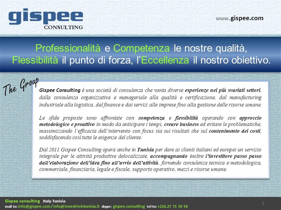 Gispee consulting Italy-Tunisia mail to: info@gispee.com / info@investireintunisia.it skype: gispee.consulting tel tn: +216.27 71 50 54 www.investireintunisia.it Supplier Scouting: la nostra proposta 13