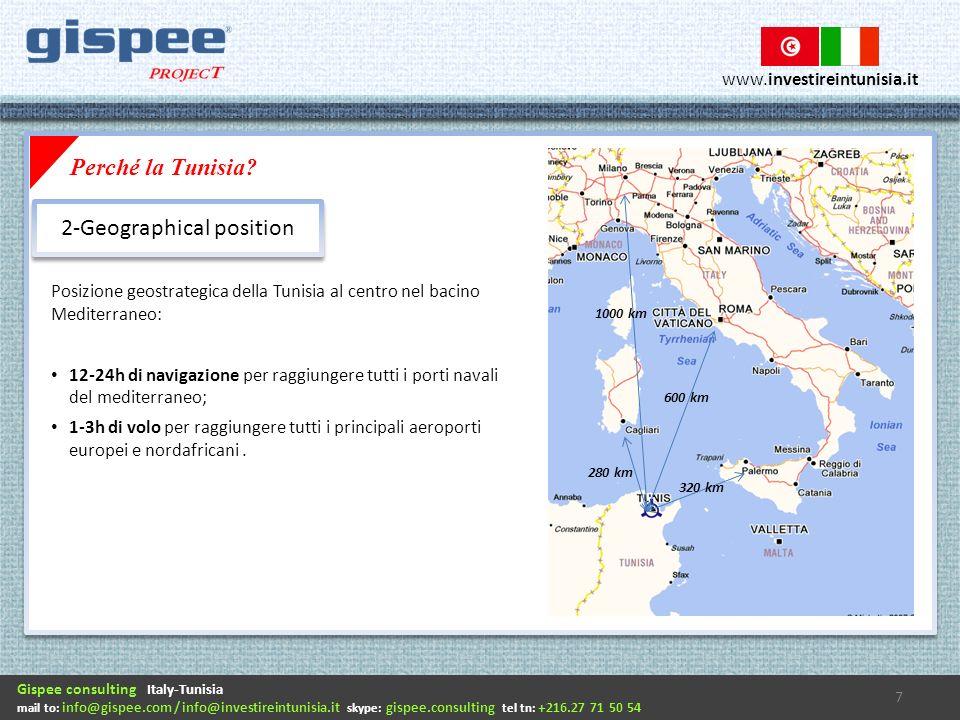 Gispee consulting Italy-Tunisia mail to: info@gispee.com / info@investireintunisia.it skype: gispee.consulting tel tn: +216.27 71 50 54 www.investireintunisia.it Posizione geostrategica della Tunisia al centro nel bacino Mediterraneo: 12-24h di navigazione per raggiungere tutti i porti navali del mediterraneo; 1-3h di volo per raggiungere tutti i principali aeroporti europei e nordafricani.