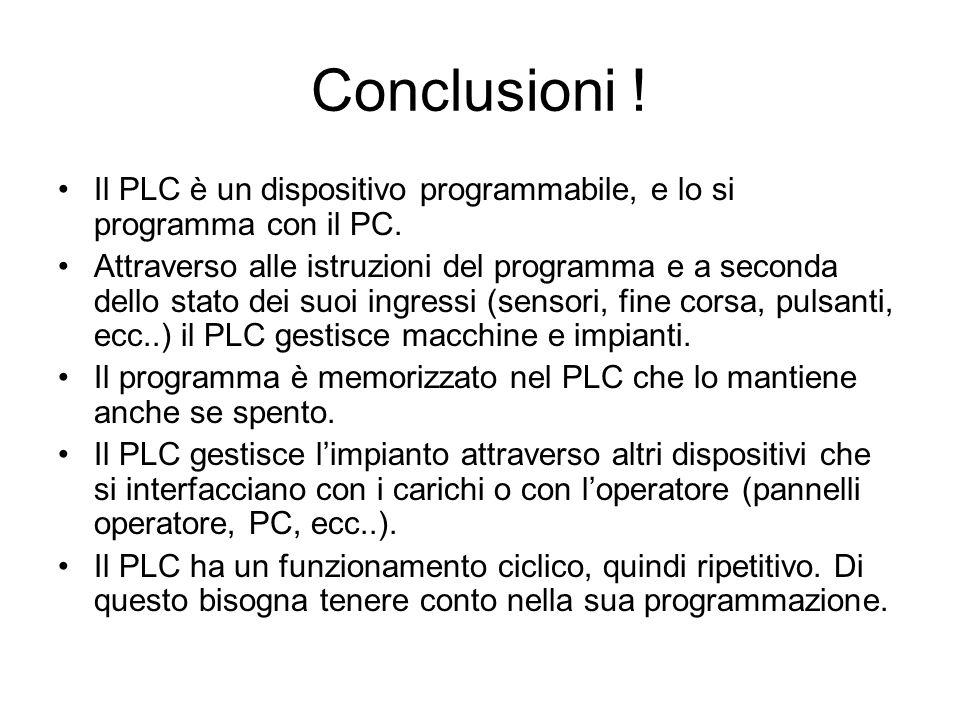 Conclusioni ! Il PLC è un dispositivo programmabile, e lo si programma con il PC. Attraverso alle istruzioni del programma e a seconda dello stato dei