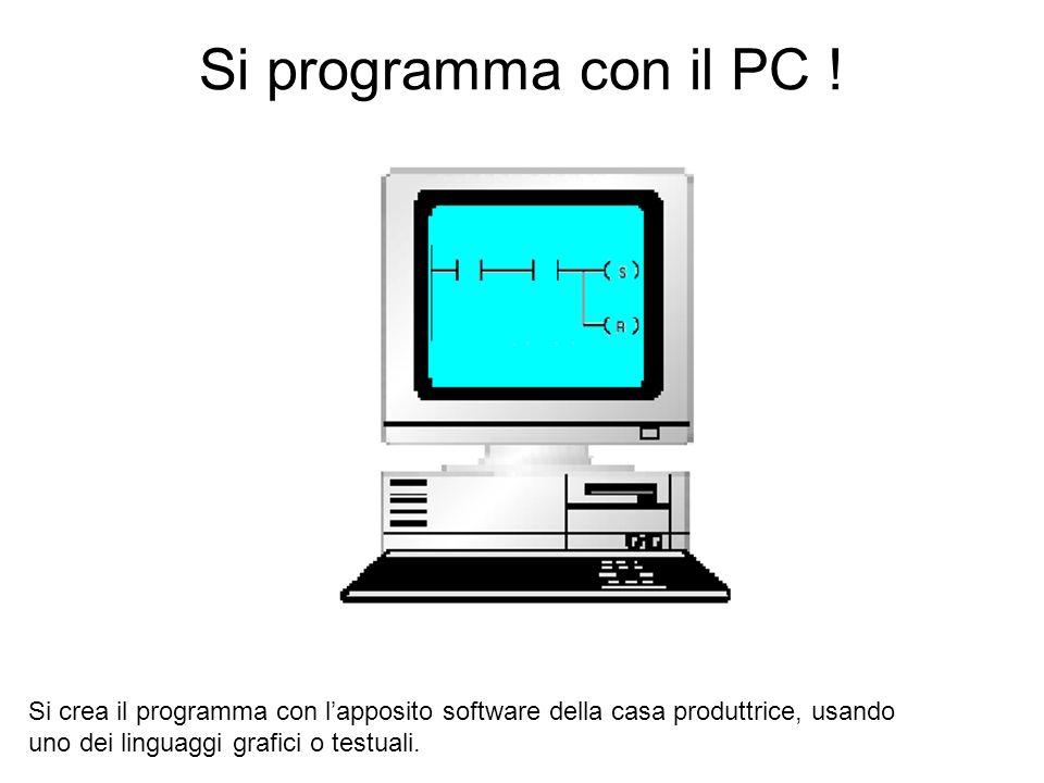 Si programma con il PC ! Si crea il programma con lapposito software della casa produttrice, usando uno dei linguaggi grafici o testuali.