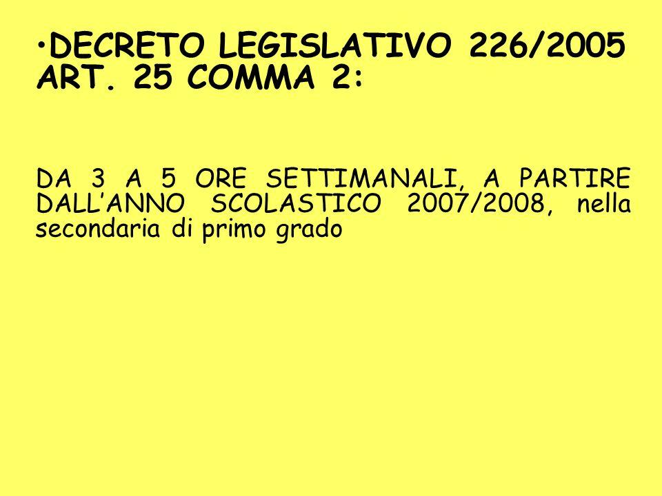 DECRETO LEGISLATIVO 226/2005 ART. 25 COMMA 2: DA 3 A 5 ORE SETTIMANALI, A PARTIRE DALLANNO SCOLASTICO 2007/2008, nella secondaria di primo grado