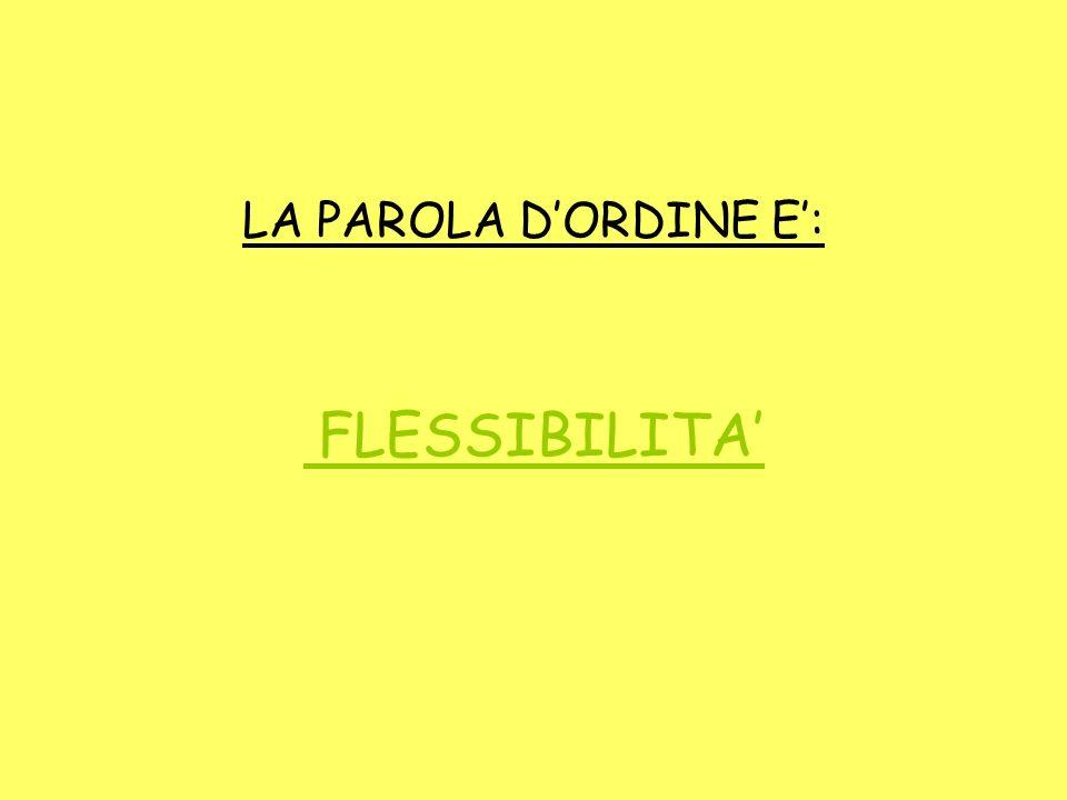 LA PAROLA DORDINE E: FLESSIBILITA