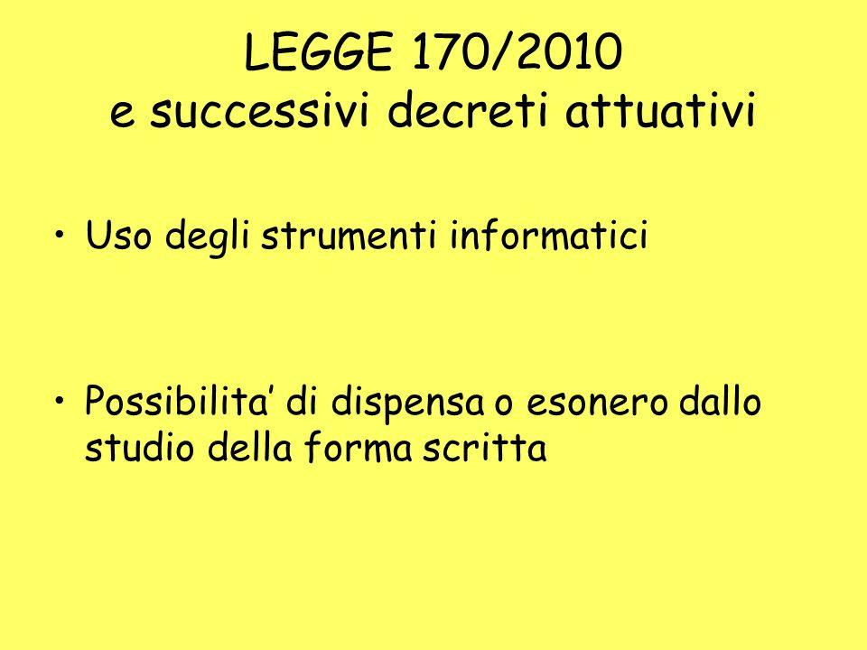 LEGGE 170/2010 e successivi decreti attuativi Uso degli strumenti informatici Possibilita di dispensa o esonero dallo studio della forma scritta