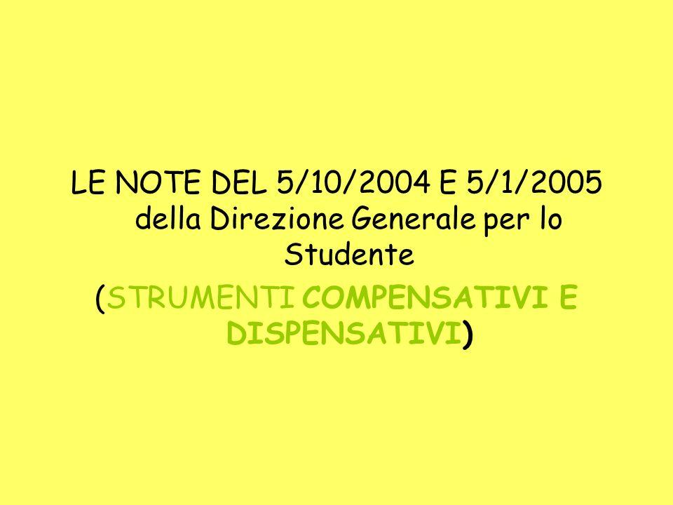 LE NOTE DEL 5/10/2004 E 5/1/2005 della Direzione Generale per lo Studente (STRUMENTI COMPENSATIVI E DISPENSATIVI)