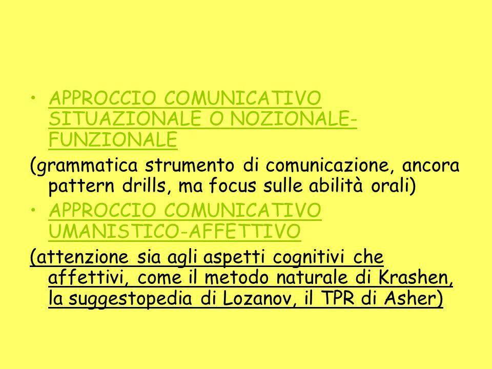 APPROCCIO COMUNICATIVO SITUAZIONALE O NOZIONALE- FUNZIONALE (grammatica strumento di comunicazione, ancora pattern drills, ma focus sulle abilità oral