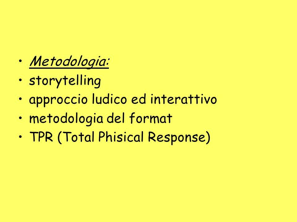 Metodologia: storytelling approccio ludico ed interattivo metodologia del format TPR (Total Phisical Response)