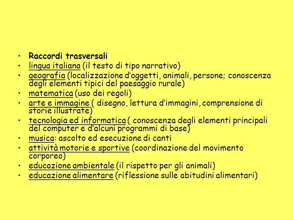 Raccordi trasversali lingua italiana (il testo di tipo narrativo) geografia (localizzazione doggetti, animali, persone; conoscenza degli elementi tipi