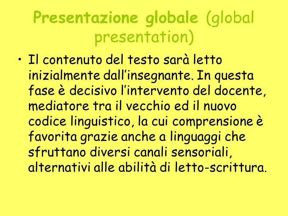 Presentazione globale (global presentation) Il contenuto del testo sarà letto inizialmente dallinsegnante. In questa fase è decisivo lintervento del d