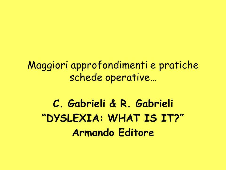 Maggiori approfondimenti e pratiche schede operative… C. Gabrieli & R. Gabrieli DYSLEXIA: WHAT IS IT? Armando Editore