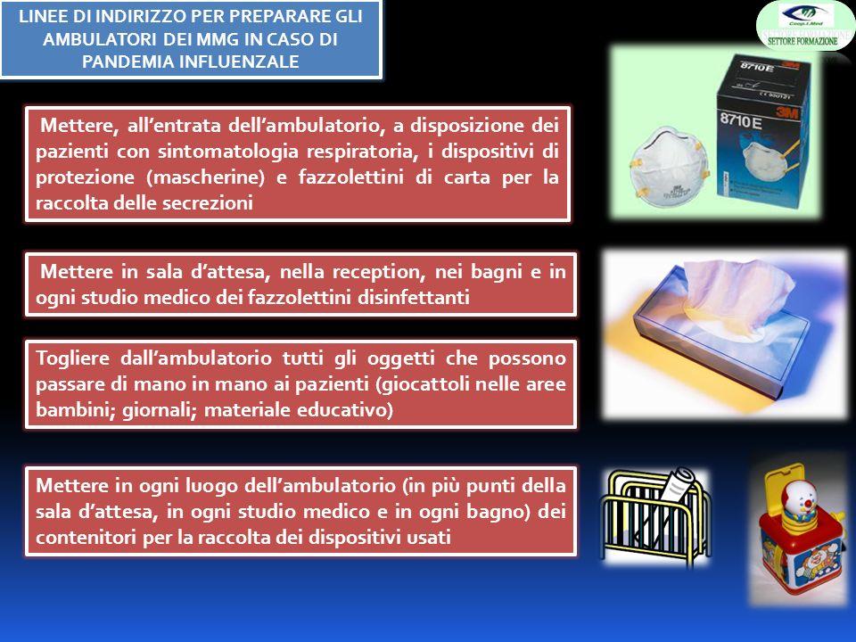 Mettere, allentrata dellambulatorio, a disposizione dei pazienti con sintomatologia respiratoria, i dispositivi di protezione (mascherine) e fazzolett