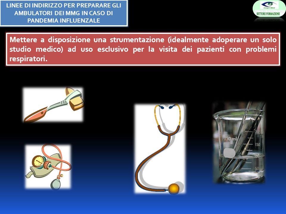 Mettere a disposizione una strumentazione (idealmente adoperare un solo studio medico) ad uso esclusivo per la visita dei pazienti con problemi respiratori.