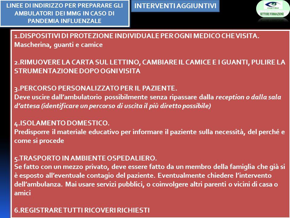 INTERVENTI AGGIUNTIVI 1.DISPOSITIVI DI PROTEZIONE INDIVIDUALE PER OGNI MEDICO CHE VISITA. Mascherina, guanti e camice 2.RIMUOVERE LA CARTA SUL LETTINO