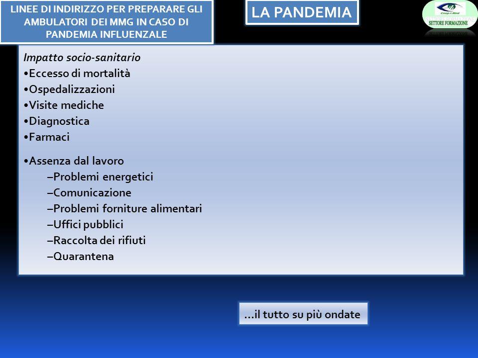 LA PANDEMIA Impatto socio-sanitario Eccesso di mortalità Ospedalizzazioni Visite mediche Diagnostica Farmaci Assenza dal lavoro –Problemi energetici –Comunicazione –Problemi forniture alimentari –Uffici pubblici –Raccolta dei rifiuti –Quarantena …il tutto su più ondate LINEE DI INDIRIZZO PER PREPARARE GLI AMBULATORI DEI MMG IN CASO DI PANDEMIA INFLUENZALE