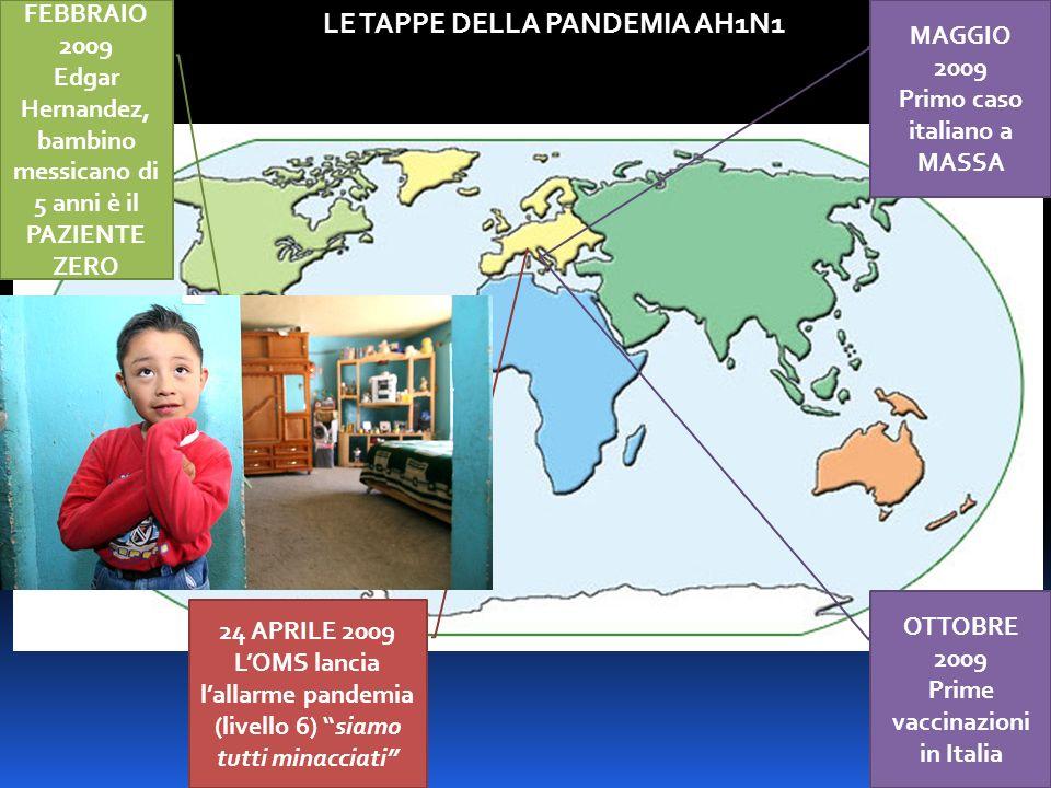 FEBBRAIO 2009 Edgar Hernandez, bambino messicano di 5 anni è il PAZIENTE ZERO 24 APRILE 2009 LOMS lancia lallarme pandemia (livello 6) siamo tutti minacciati LE TAPPE DELLA PANDEMIA AH1N1 MAGGIO 2009 Primo caso italiano a MASSA OTTOBRE 2009 Prime vaccinazioni in Italia