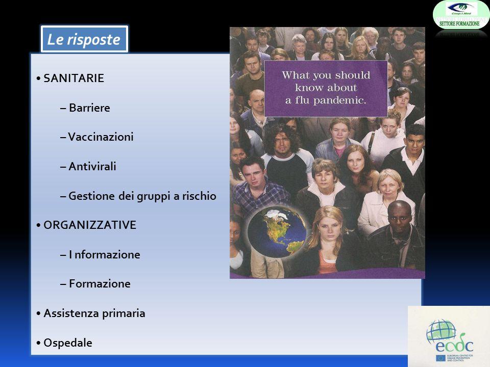 Le risposte SANITARIE – Barriere – Vaccinazioni – Antivirali – Gestione dei gruppi a rischio ORGANIZZATIVE – I nformazione – Formazione Assistenza pri