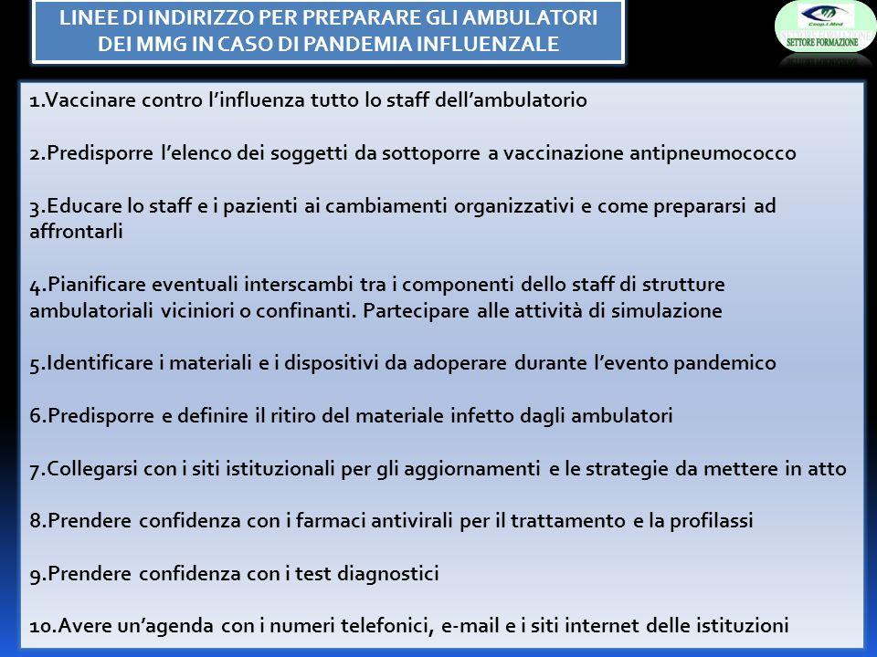1.Vaccinare contro linfluenza tutto lo staff dellambulatorio 2.Predisporre lelenco dei soggetti da sottoporre a vaccinazione antipneumococco 3.Educare