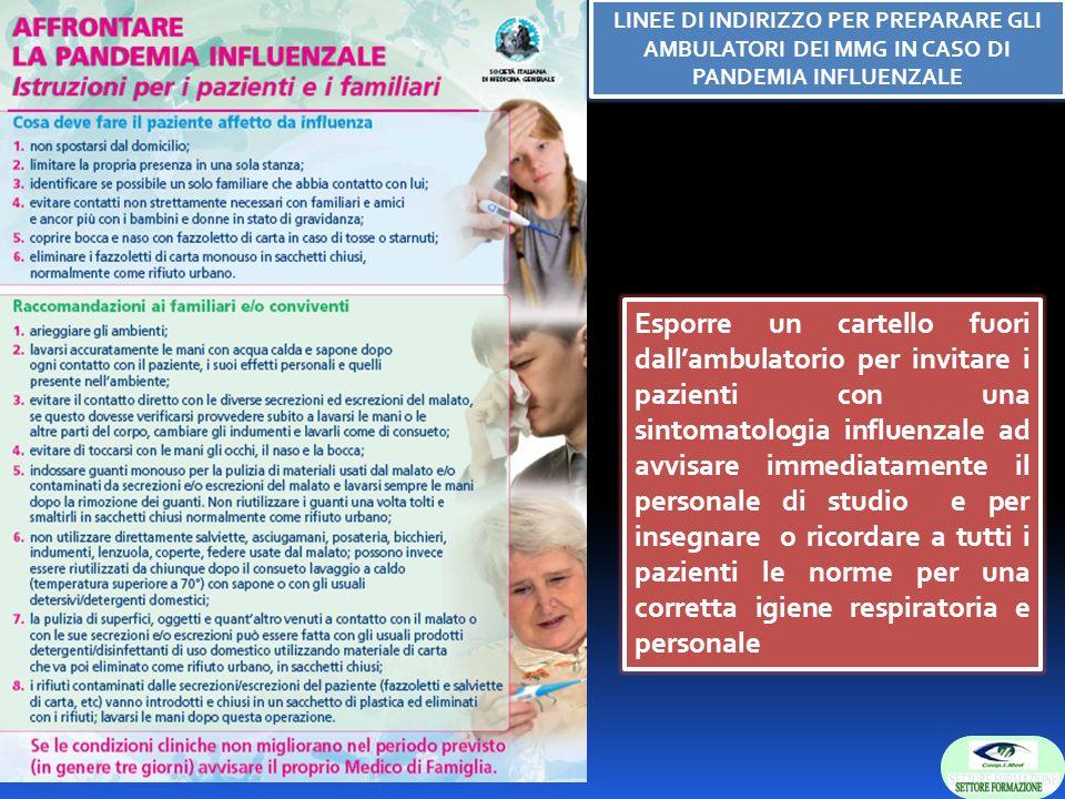 Esporre un cartello fuori dallambulatorio per invitare i pazienti con una sintomatologia influenzale ad avvisare immediatamente il personale di studio