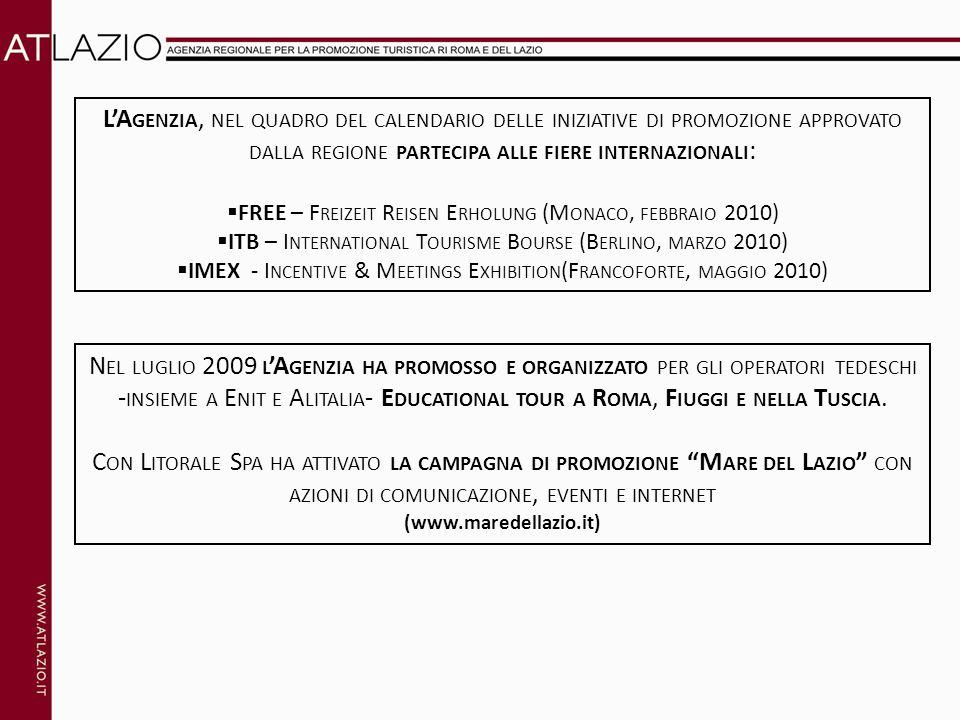 LA GENZIA, NEL QUADRO DEL CALENDARIO DELLE INIZIATIVE DI PROMOZIONE APPROVATO DALLA REGIONE PARTECIPA ALLE FIERE INTERNAZIONALI : FREE – F REIZEIT R EISEN E RHOLUNG (M ONACO, FEBBRAIO 2010) ITB – I NTERNATIONAL T OURISME B OURSE (B ERLINO, MARZO 2010) IMEX - I NCENTIVE & M EETINGS E XHIBITION (F RANCOFORTE, MAGGIO 2010) N EL LUGLIO 2009 L A GENZIA HA PROMOSSO E ORGANIZZATO PER GLI OPERATORI TEDESCHI - INSIEME A E NIT E A LITALIA - E DUCATIONAL TOUR A R OMA, F IUGGI E NELLA T USCIA.