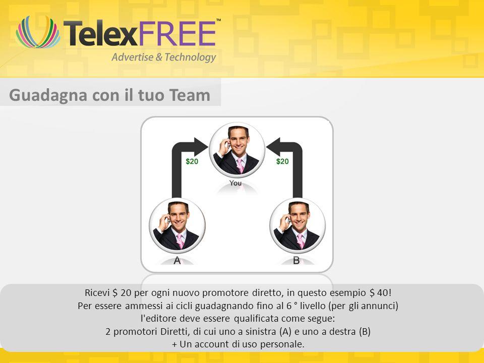 Guadagna con il tuo Team Ricevi $ 20 per ogni nuovo promotore diretto, in questo esempio $ 40.