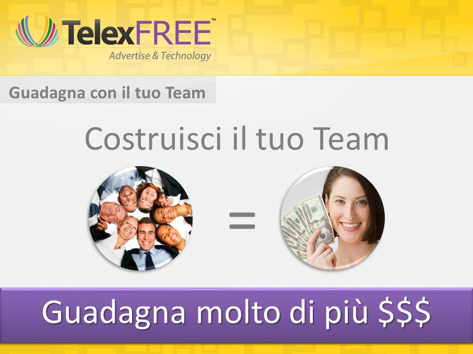 Guadagna con il tuo Team Costruisci il tuo Team = Guadagna molto di più $$$