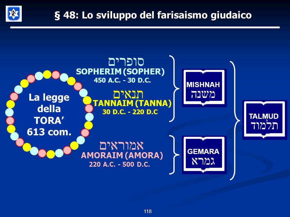 118 § 48: Lo sviluppo del farisaismo giudaico AMORAIM (AMORA) SOPHERIM (SOPHER) TANNAIM (TANNA) 450 A.C. - 30 D.C. 30 D.C. - 220 D.C 220 A.C. - 500 D.