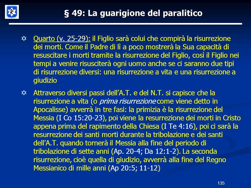 § 49: La guarigione del paralitico Quarto (v. 25-29): il Figlio sarà colui che compirà la risurrezione dei morti. Come il Padre di lì a poco mostrerà