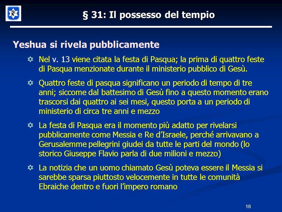 § 31: Il possesso del tempio Yeshua si rivela pubblicamente Nel v. 13 viene citata la festa di Pasqua; la prima di quattro feste di Pasqua menzionate
