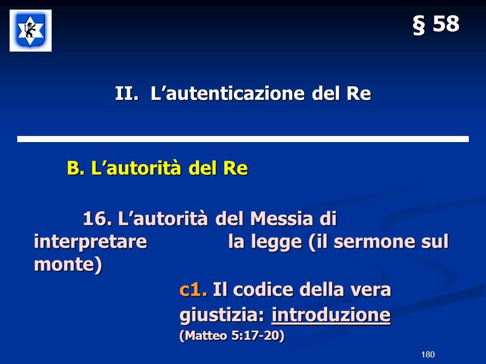 II. Lautenticazione del Re B. Lautorità del Re B. Lautorità del Re 16. Lautorità del Messia di interpretarela legge (il sermone sul monte) c1. Il codi