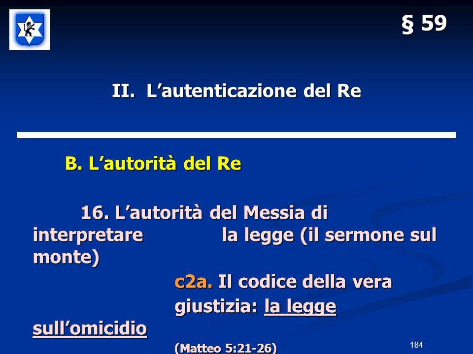 II. Lautenticazione del Re B. Lautorità del Re B. Lautorità del Re 16. Lautorità del Messia di interpretarela legge (il sermone sul monte) c2a. Il cod