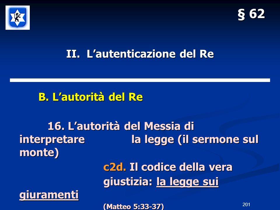 II. Lautenticazione del Re B. Lautorità del Re B. Lautorità del Re 16. Lautorità del Messia di interpretarela legge (il sermone sul monte) c2d. Il cod