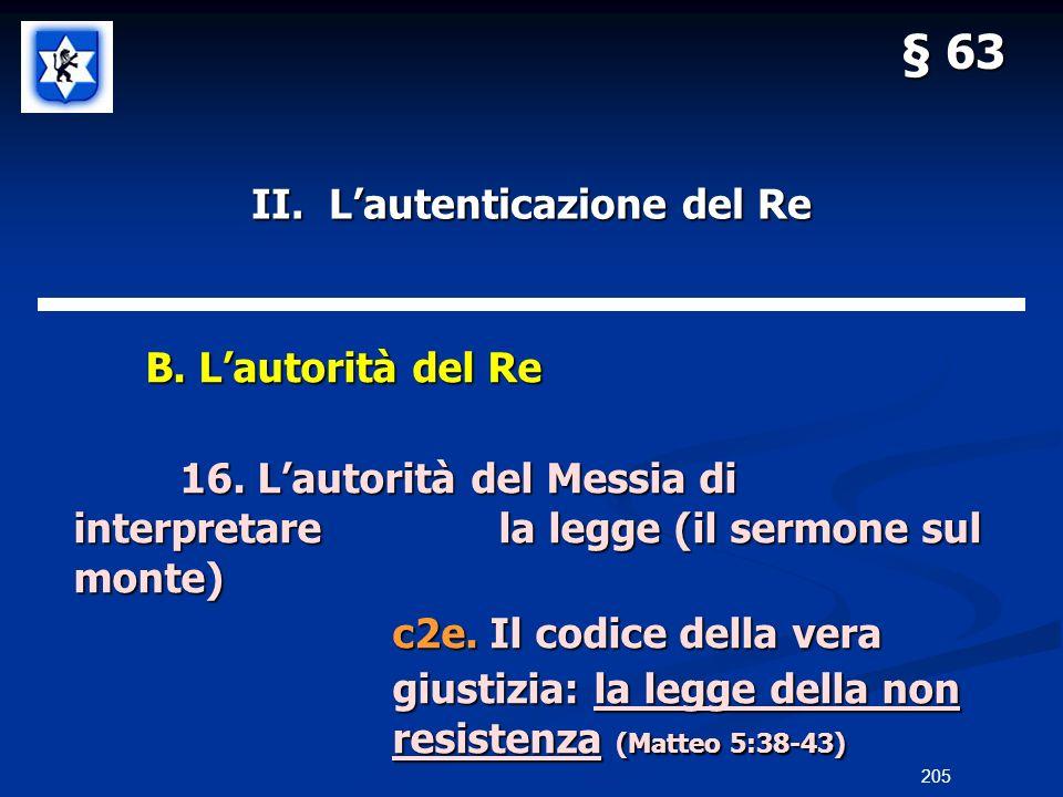 II. Lautenticazione del Re B. Lautorità del Re B. Lautorità del Re 16. Lautorità del Messia di interpretarela legge (il sermone sul monte) c2e. Il cod