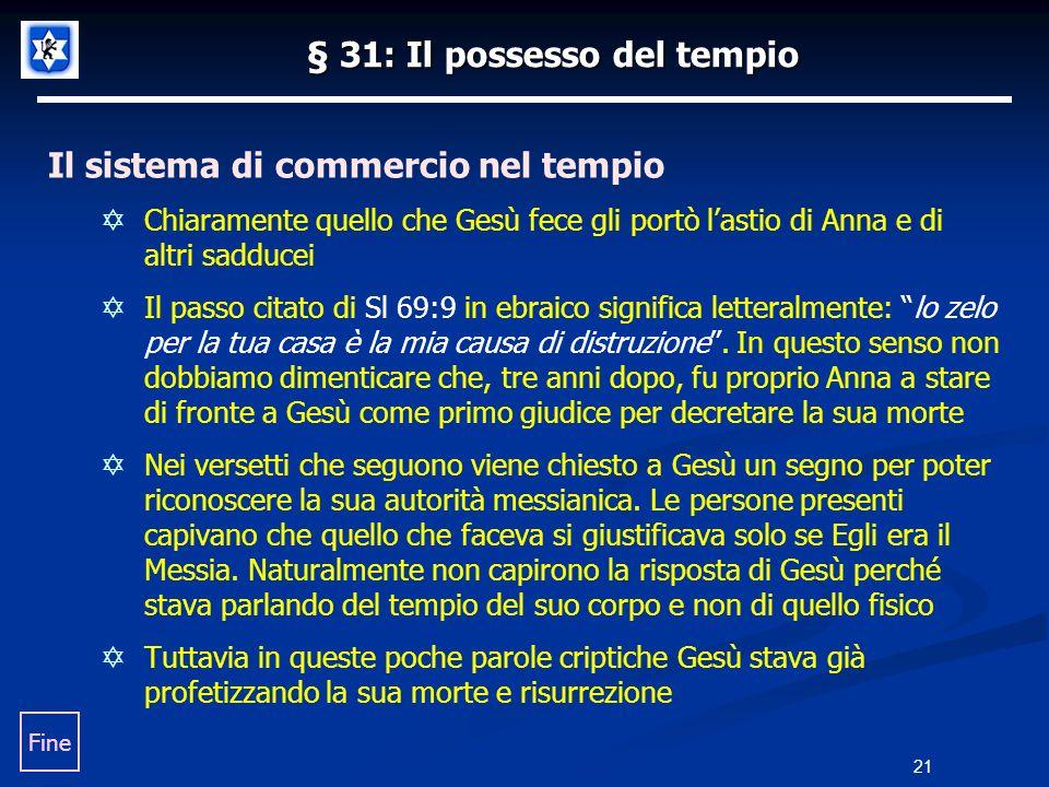 § 31: Il possesso del tempio Il sistema di commercio nel tempio Chiaramente quello che Gesù fece gli portò lastio di Anna e di altri sadducei Il passo