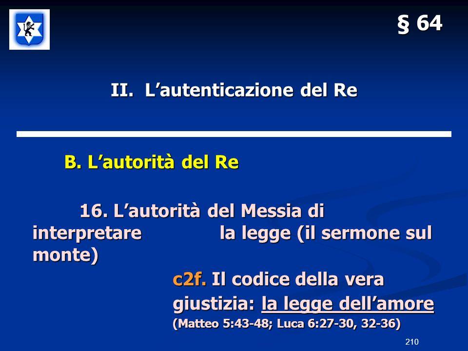 II. Lautenticazione del Re B. Lautorità del Re B. Lautorità del Re 16. Lautorità del Messia di interpretarela legge (il sermone sul monte) c2f. Il cod