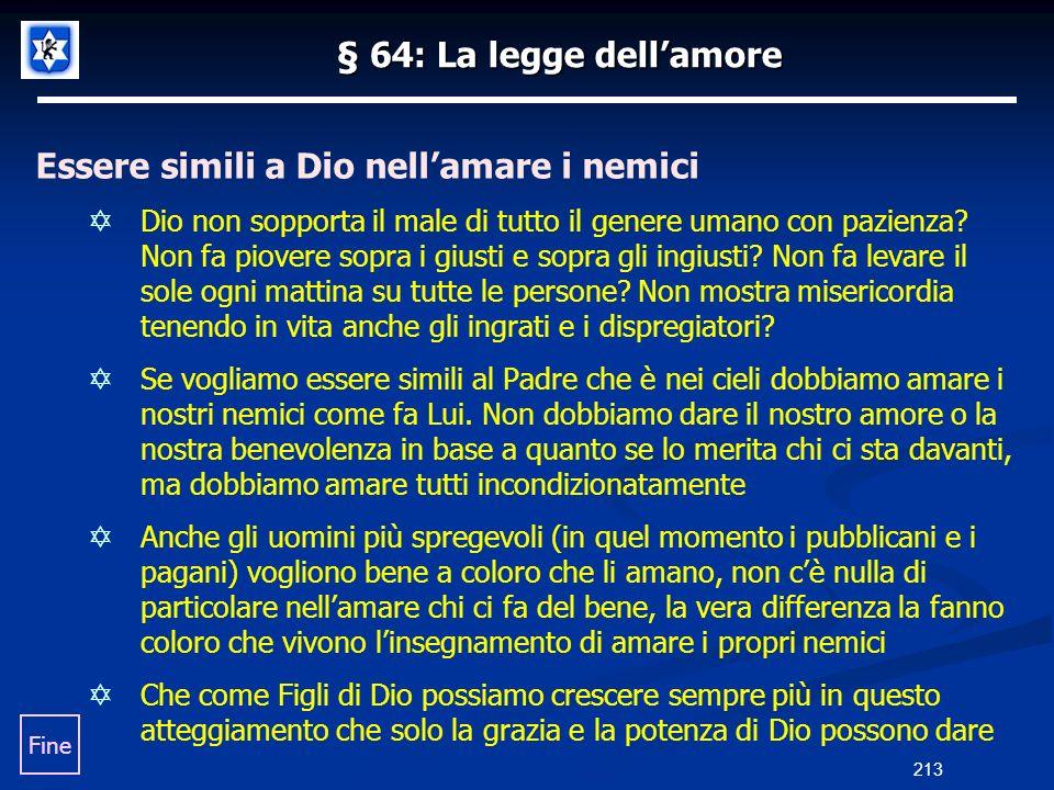 § 64: La legge dellamore Essere simili a Dio nellamare i nemici Dio non sopporta il male di tutto il genere umano con pazienza? Non fa piovere sopra i