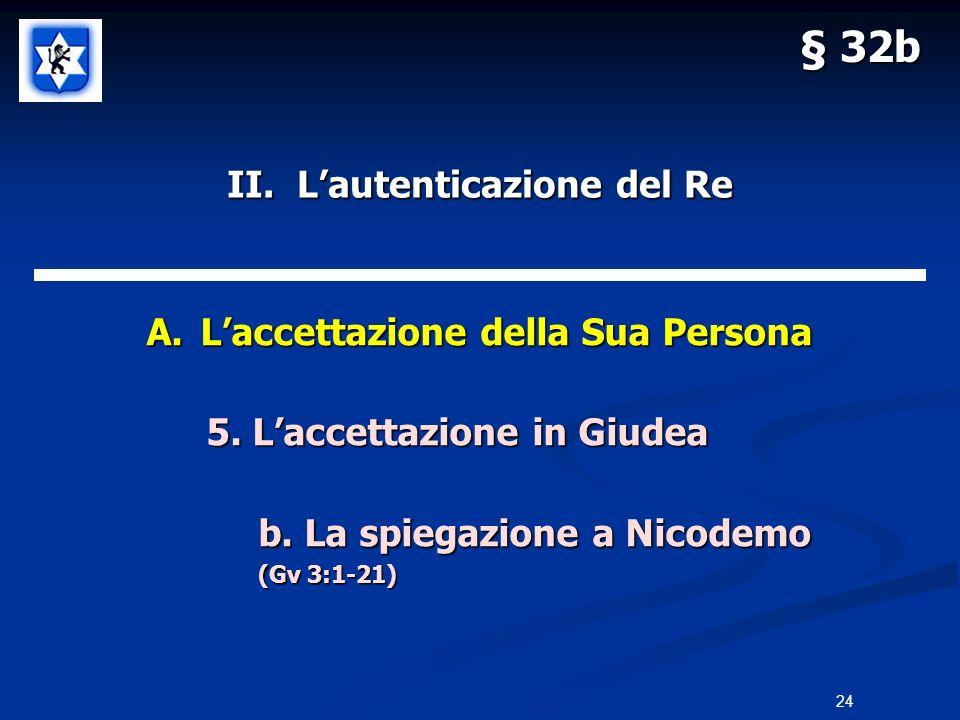 II. Lautenticazione del Re A.Laccettazione della Sua Persona 5. Laccettazione in Giudea 5. Laccettazione in Giudea b. La spiegazione a Nicodemo (Gv 3: