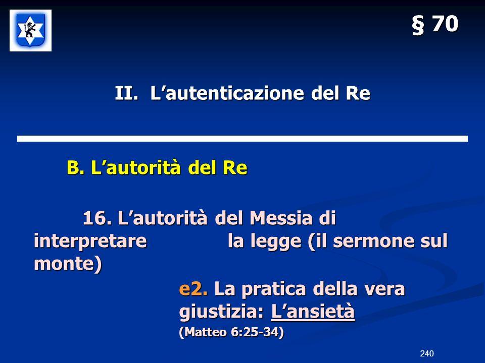 II. Lautenticazione del Re B. Lautorità del Re B. Lautorità del Re 16. Lautorità del Messia di interpretarela legge (il sermone sul monte) e2. La prat