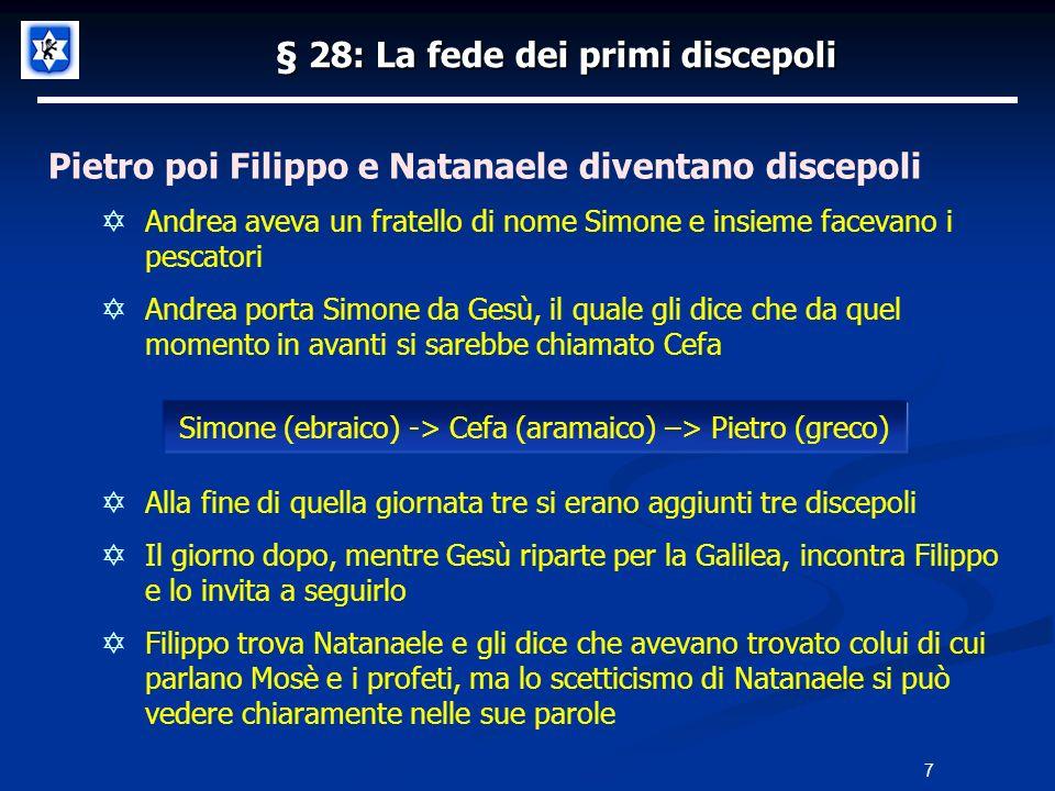 § 28: La fede dei primi discepoli Pietro poi Filippo e Natanaele diventano discepoli Andrea aveva un fratello di nome Simone e insieme facevano i pesc