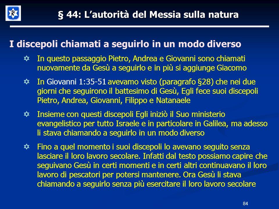 § 44: Lautorità del Messia sulla natura I discepoli chiamati a seguirlo in un modo diverso In questo passaggio Pietro, Andrea e Giovanni sono chiamati