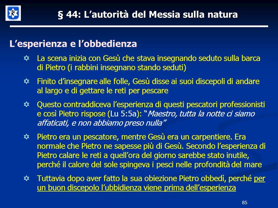 § 44: Lautorità del Messia sulla natura Lesperienza e lobbedienza La scena inizia con Gesù che stava insegnando seduto sulla barca di Pietro (i rabbin