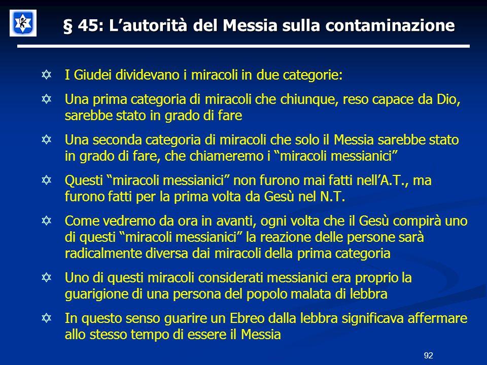 § 45: Lautorità del Messia sulla contaminazione I Giudei dividevano i miracoli in due categorie: Una prima categoria di miracoli che chiunque, reso ca