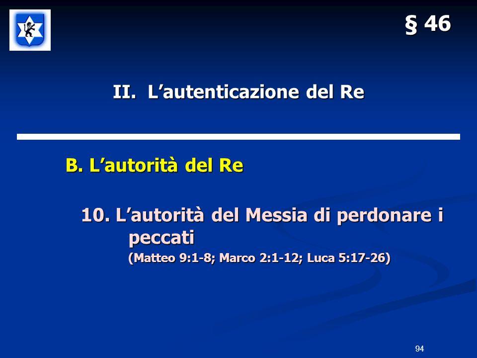 II. Lautenticazione del Re B. Lautorità del Re B. Lautorità del Re 10. Lautorità del Messia di perdonare i peccati (Matteo 9:1-8; Marco 2:1-12; Luca 5
