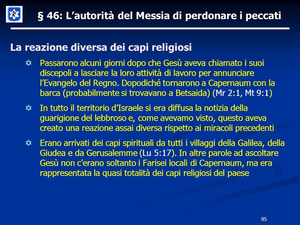 § 46: Lautorità del Messia di perdonare i peccati La reazione diversa dei capi religiosi Passarono alcuni giorni dopo che Gesù aveva chiamato i suoi d