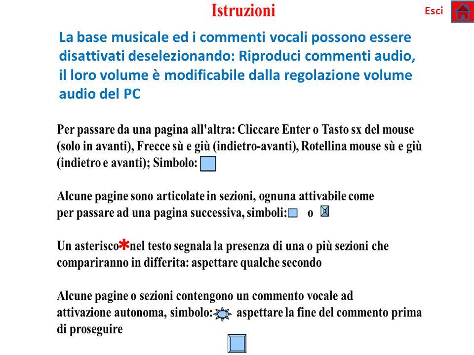 * La base musicale ed i commenti vocali possono essere disattivati deselezionando: Riproduci commenti audio, il loro volume è modificabile dalla regol